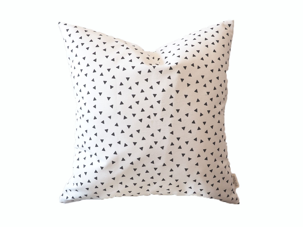 Pillow Black White Triangles Geometric Abstract Modern Decorative Square Pillow Case