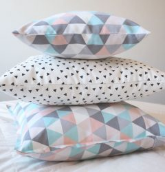 Pillow, Triangles,Baby Blue, Pink, Grey, White, Geometric, Colorful, Modern, Decorative Square Pillow Case