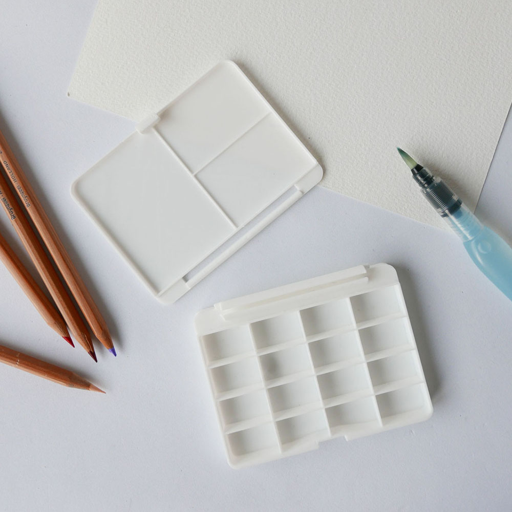 Small Portable Watercolor Box With Mixing Pallete 3D Printed, art acessory, stationary, white, sixteen (16) pans,miauss