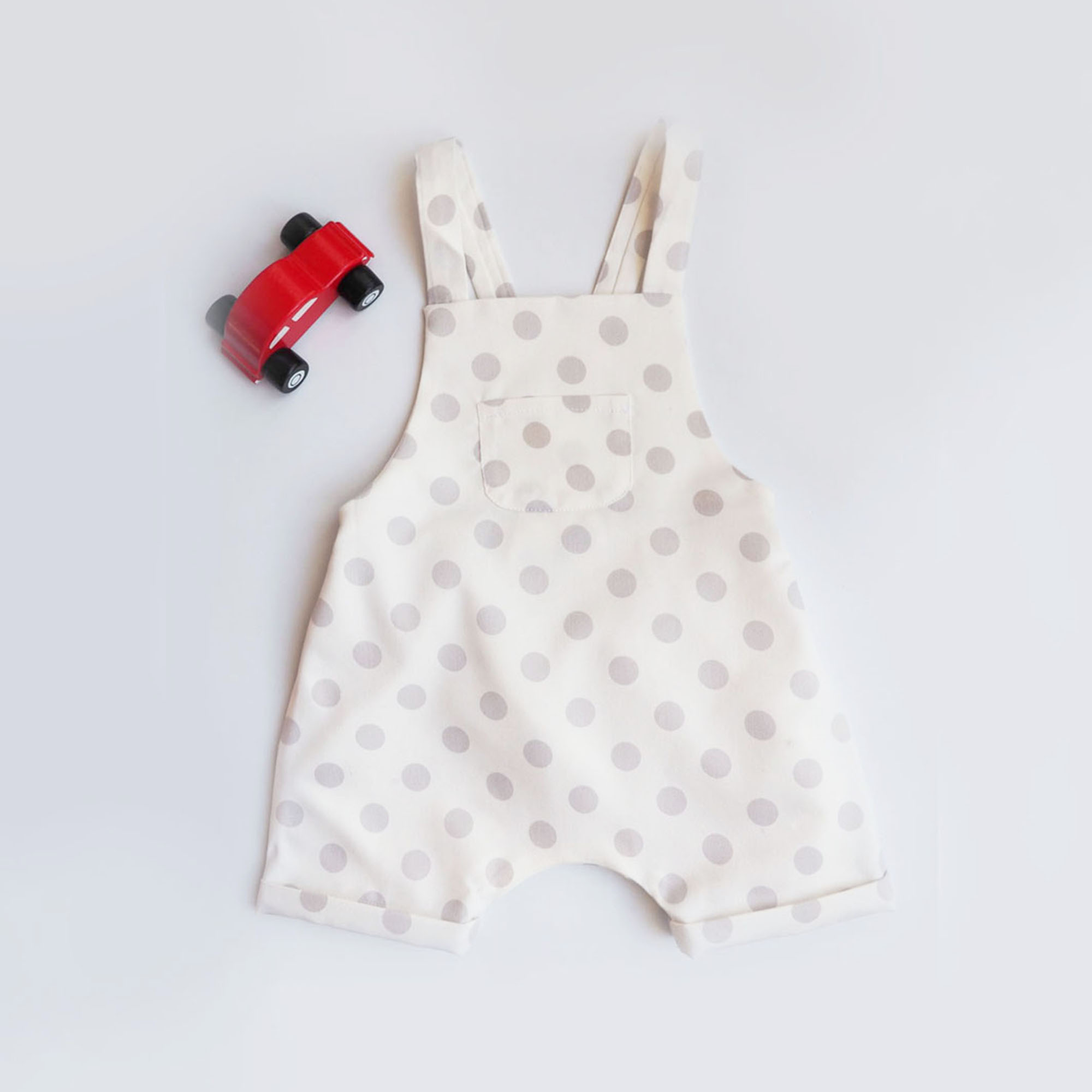 Baby romper,overalls,dungarees,white with grey dots,straps with buttons,baby clothes,classic,sleeveless jumpsuit, 3,6,9,12,18,24 months,miauss