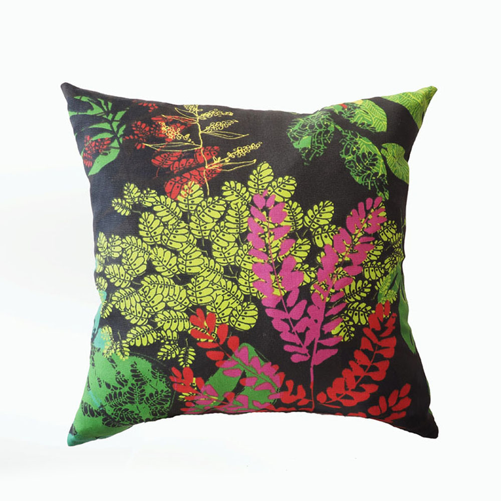 Pillow Black, Flowers Pattern, Bright Colors, Pink, Green, Yellow, Blue, Decorative Pillow Case, Square Shape, 45x45 cm (17.7x17.7inches),miauss.
