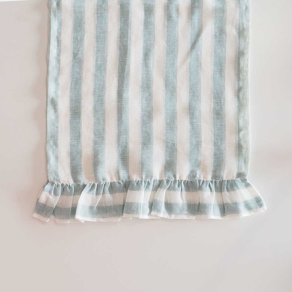 Stripes table runner with ruffles,green, blue, white,romantic,dinner table, decorative linens, rectangular shape,miauss
