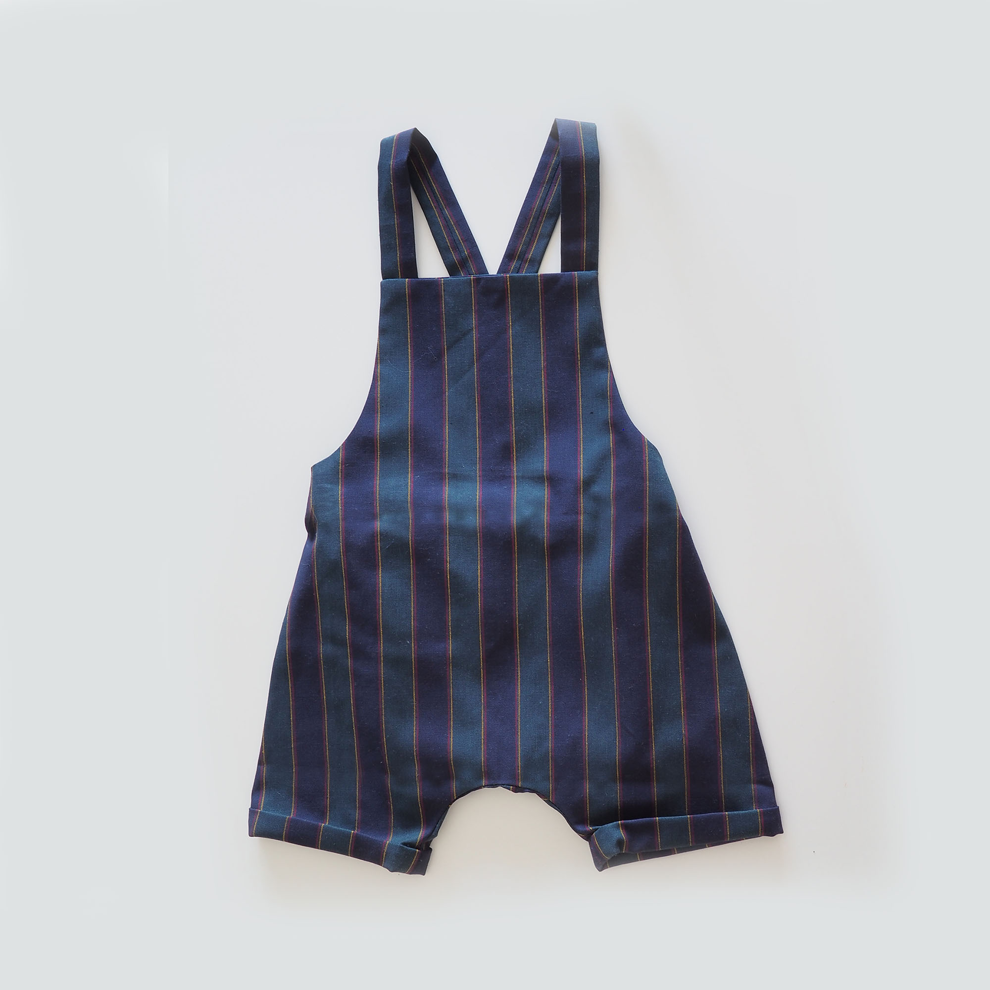 Baby romper,overalls,dungarees,green and blue stripes