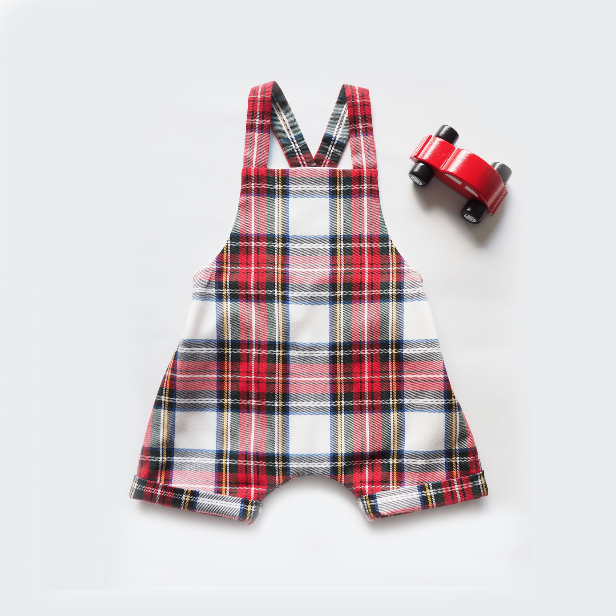 Baby romper,overalls,dungarees,jumpsuit,white,red,black,yellow tartan,miauss